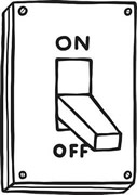 A drawing of a wall light switch