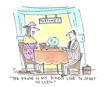 Cartoon: Fortune teller uses a direct phone line Janet Yellen for forecasting