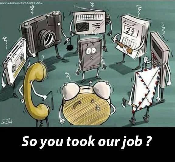 cartoon demonstrating job lossess due to technological innovationism