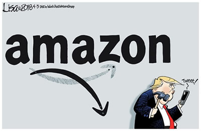 A cartoon showing President Trump holding a hammer threatening to smash his smartphone that is echoing the word Tweet! while Amazon's logo grin turns to a frown