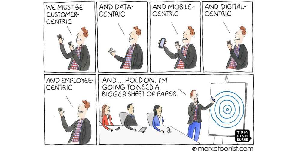 A cartoon showing a presenter trying to appease everyone by using the most common catch phrases of the day regarding technology and business transformation
