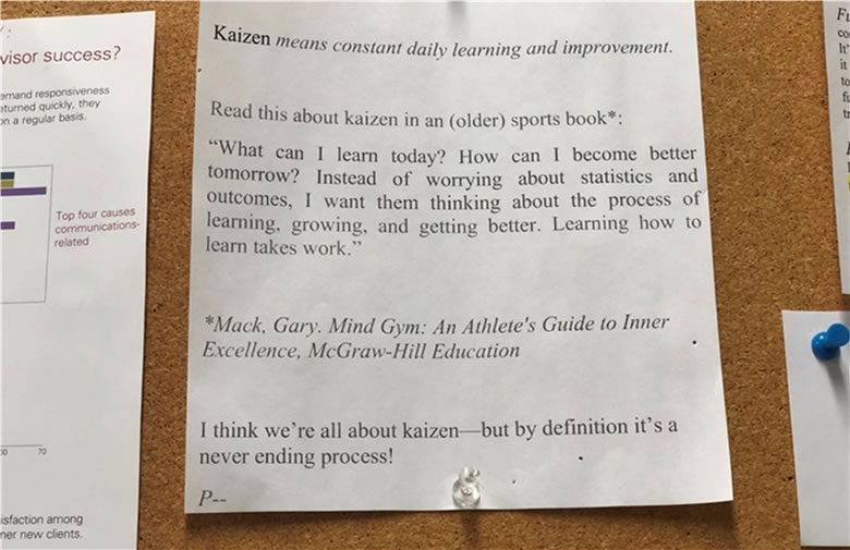 A picture of a posted note translating a Japanese word via a quote taken from the book An Athlete's Guide to Inner Excellence