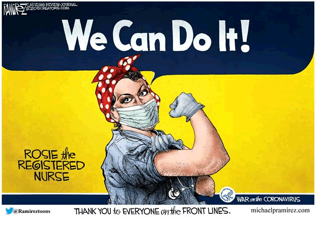 cartoon picturing a modern-day version of Rosie the Riveter except this time she is a masked registered nurse fighting Covid-19