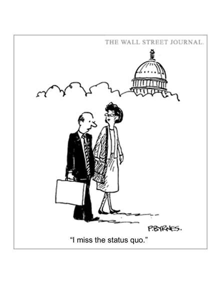 cartoon picturing a business man and woman walking by Capitol Hill longing for the security of the past