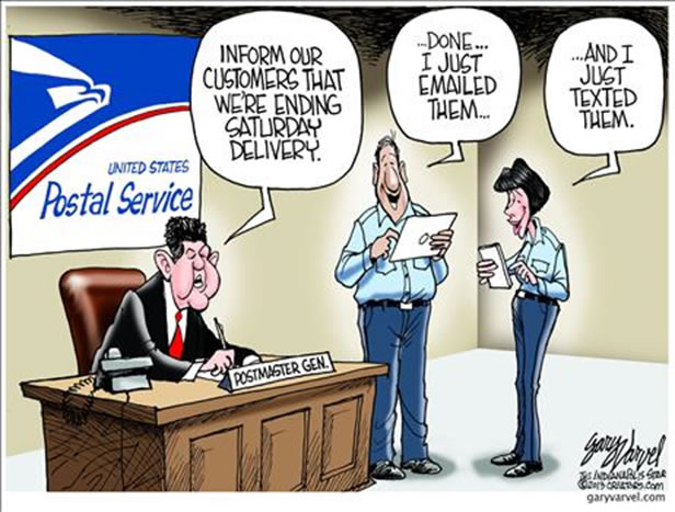 Cartoon:U.S. Postal employees discuss electronic communication delivery options