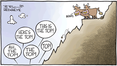 A cartoon showing market bulls standing high on a cliff mocking market bears who claim a market top at various lower levels