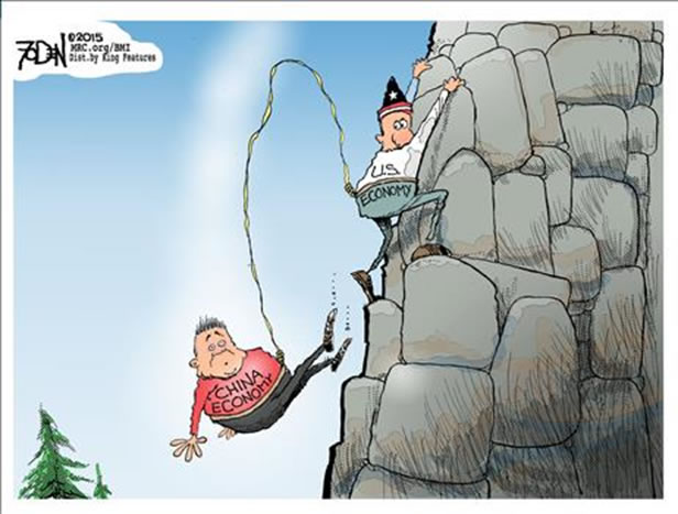 Cartoon: Will China's economic cliff-dive take the U.S. economy with?