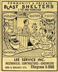 a cartoon drawing from the 1950s advertising nuclear fallout shelters for communities and individuals