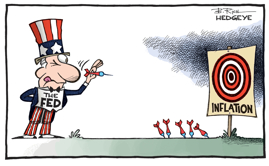 A cartoon depicting Uncle Sam, as represented by the Federal Reserve, aiming a dart at a bullseye named inflation