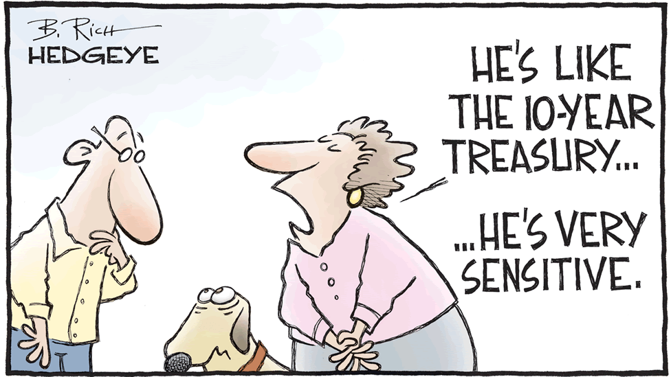 A cartoon showing a dog and its owner telling a passerby that the dog is sensitive like the 10-year US Treasury bond