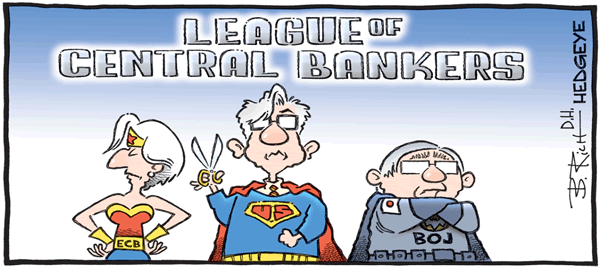 A cartoon depicting European Central Bank president Christine Lagarde, Federal Reserve chairman Jay Powell, and Bank of Japan governor Haruhiko Kuroda as super heroes.