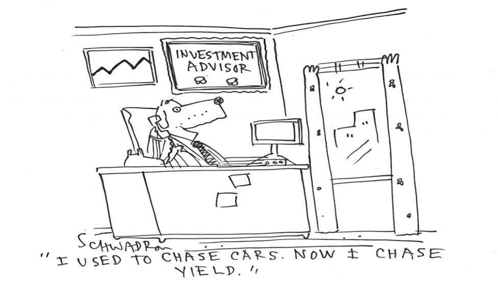 cartoon mocking investors chasing yields