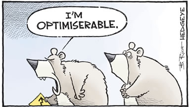 A cartoon showing two stock market bears with one acting depressed saying he is optimiserable