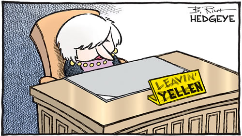 A cartoon showing former Fed Chair Janet Yellen sitting at an empty desk with her name plaquard changed to Leavin