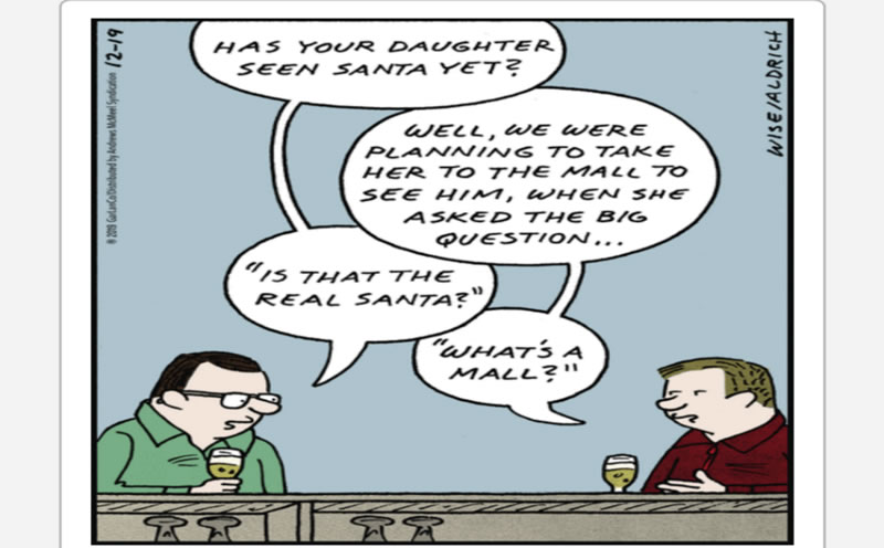 A cartoon showing a conversation between two fathers talking about taking their kids to see Santa at a mall, except one of them doesn't know what a mall is