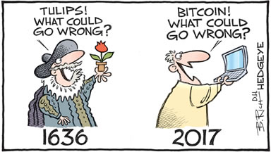 A cartoon comparing the tulip mania in 1636 with the Bitcoin mania of 2017.