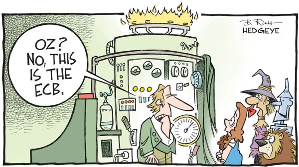 Cartoon depicting European Central Bankers as the wizard of Oz